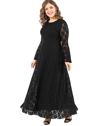 Angelino Butik Büyük Beden Komple Dantel Elbise DD791 Siyah